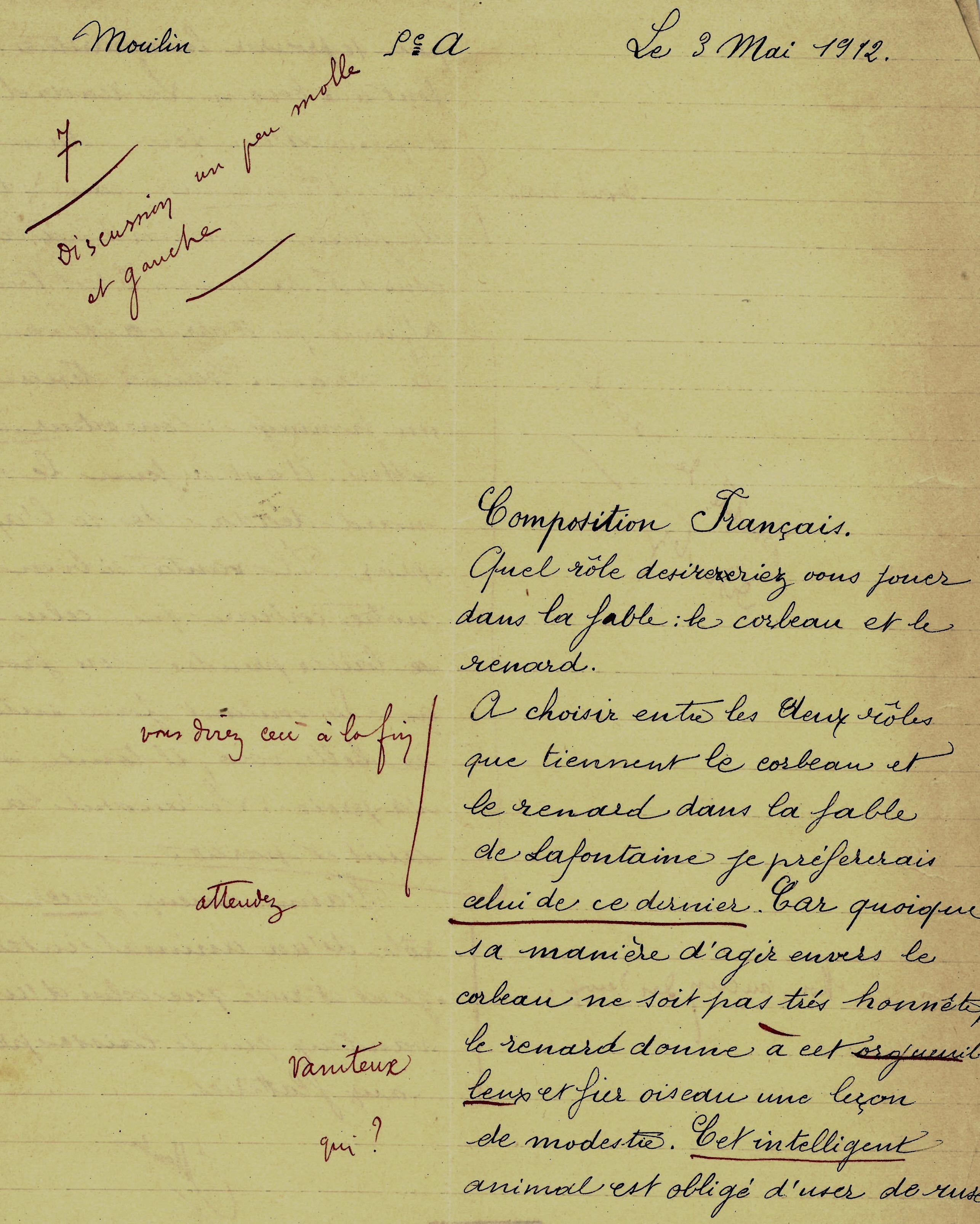 Devoir de français de Jean Moulin, à 13 ans, en 1912.
