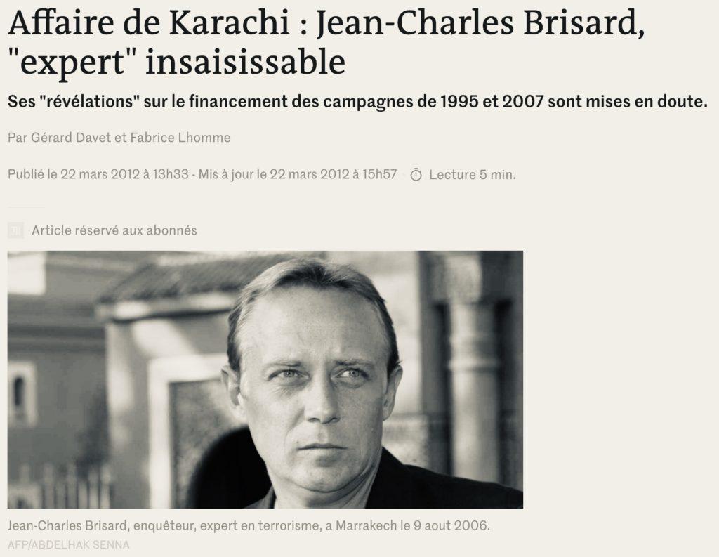 Le Monde : Jean-Charles Brisard, expert insaisissable